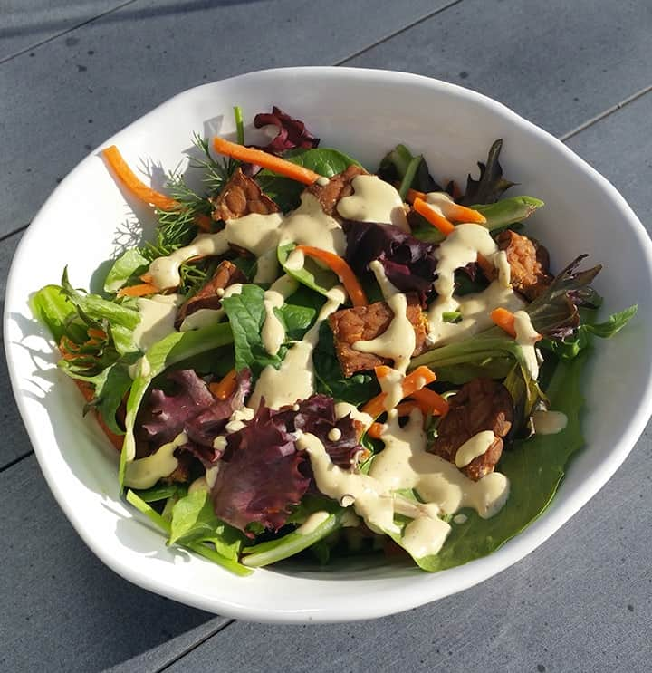 Mixed Green Salad with Tempeh & Caesar Dressing