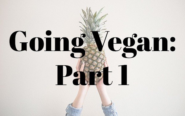 """picture of hands holding a pineapple with """"Going Vegan: Part 1"""" superimposed on top"""