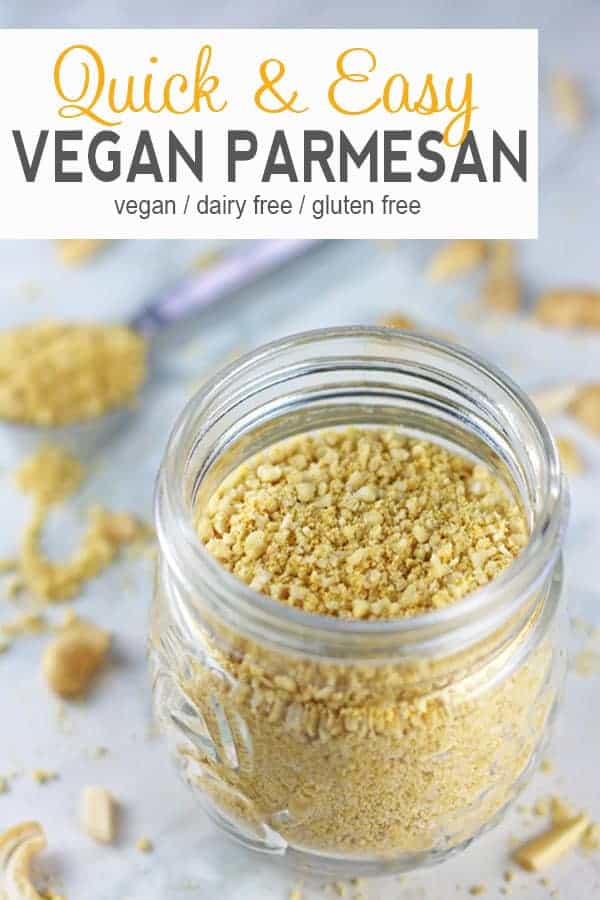 Vegan Parmesan | Making your own Vegan Parmesan Cheese is extremely easy and only requires 5 ingredients! It's a delicious dairy-free alternative to traditional parmesan. Make a batch of this simple cheese to throw on just about anything!