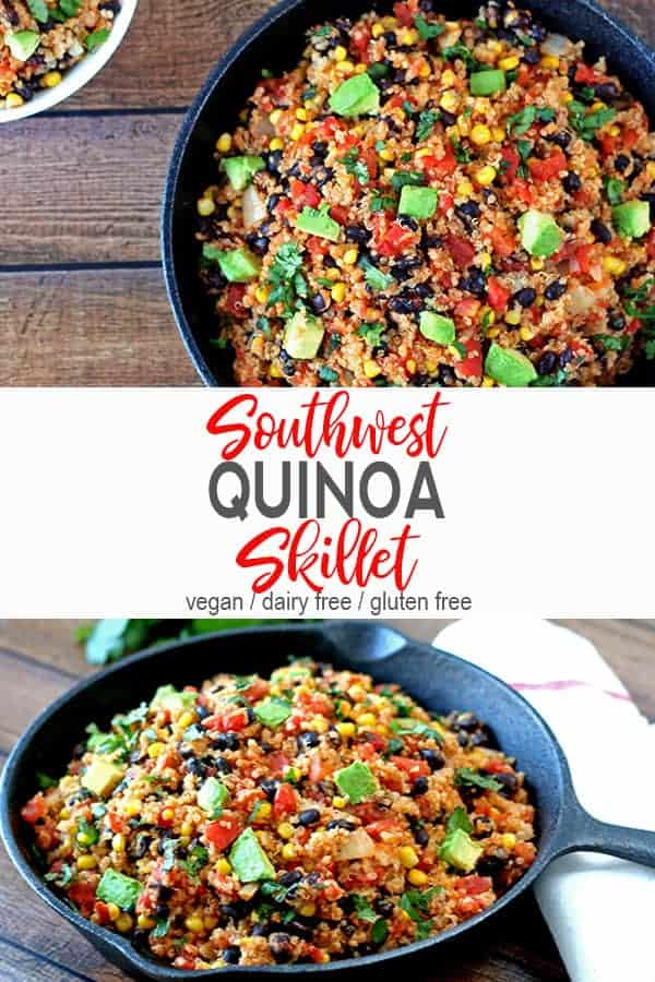 Southwest Quinoa | This southwest quinoa captures the flavors of Southwestern food with corn, black beans, tomatoes & avocado. This one pot dish is easy to make, healthy, and gluten free. This simple vegan dinner is a bowl of comfort food! #southwestquinoa #southwestquinoaskillet #southwestquinoasalad #healthysouthwestquinoa #vnutrition #southwestquinoarecipes