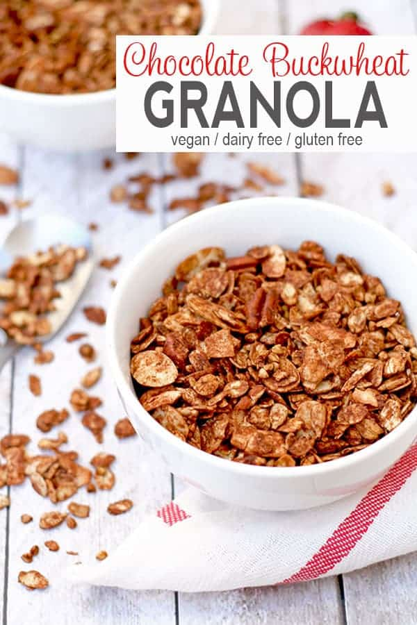 Chocolate Buckwheat Granola | This tasty chocolate buckwheat granola is low in sugar and a great topping for yogurt and smoothie bowls! It's easy to make a big batch and have it for a few weeks!