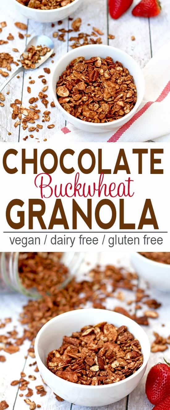 Chocolate Buckwheat Granola | Vegan, Dairy Free, Gluten Free | This chocolate granola is refined sugar free and a tasty treat on it's own or as a topping for yogurt!