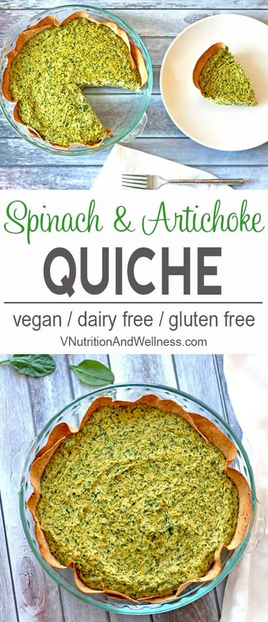 Vegan Spinach and Artichoke Quiche | This vegan spinach and artichoke quiche is a tasty spin on the popular dip! vegan spinach and artichoke recipe, vegan quiche