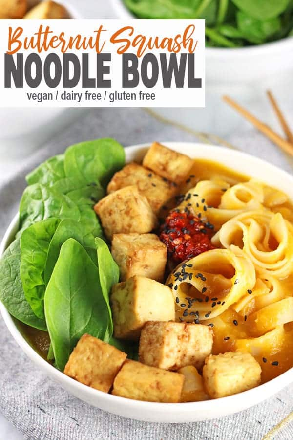 Butternut Squash Noodle Bowl |  This Butternut Squash Noodle Bowl is easy to make and a healthy meal for dinnertime. It's gluten-free and creamy without the dairy. This warming bowl is the perfect for those chilly nights when you need some comfort food! #vegannoodlebowl #butternutsquashnoodles #butternutsquashnoodlebowl #vnutrition #veganbuntternutsquash