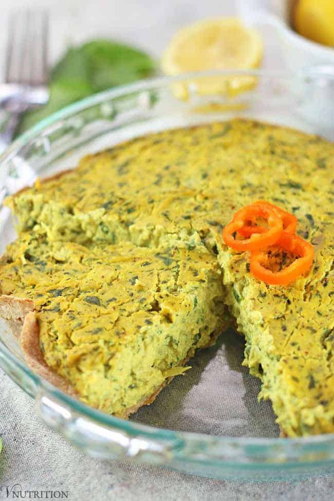 vegan spinach artichoke quiche