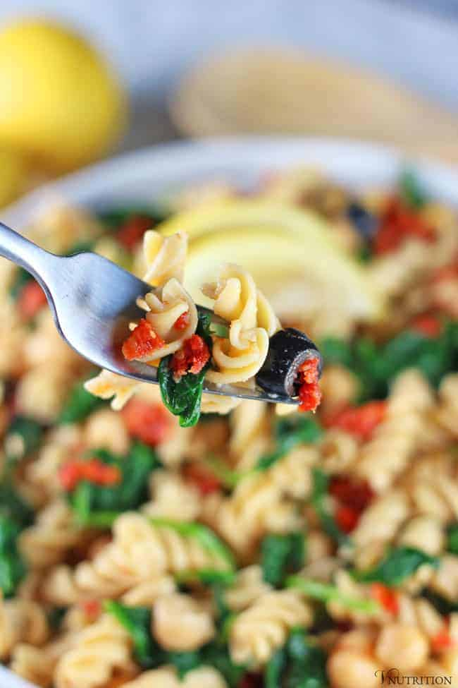 Pasta Salad and veggies on a fork