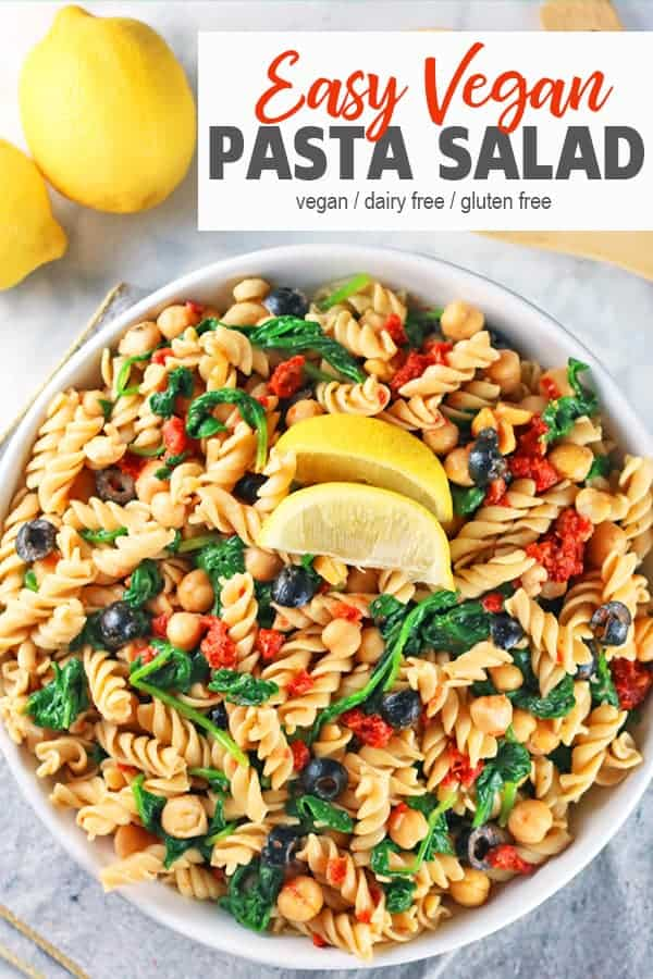 Easy Vegan & Gluten-Free Pasta Salad | This Easy Vegan Pasta Salad is low in oil comes together so quickly. It's perfect when you need a healthy and tasty dish to bring to a cookout, BBQ, or potluck. It can be made ahead of time for a fast  and delicious gluten-free dinner or lunch. #easyveganpastasalad #veganpastasald #glutenfreepastasalad #easypastasaladrecipe #easyveganpastasladarecipe #vnutrition #healthyveganpastasalad