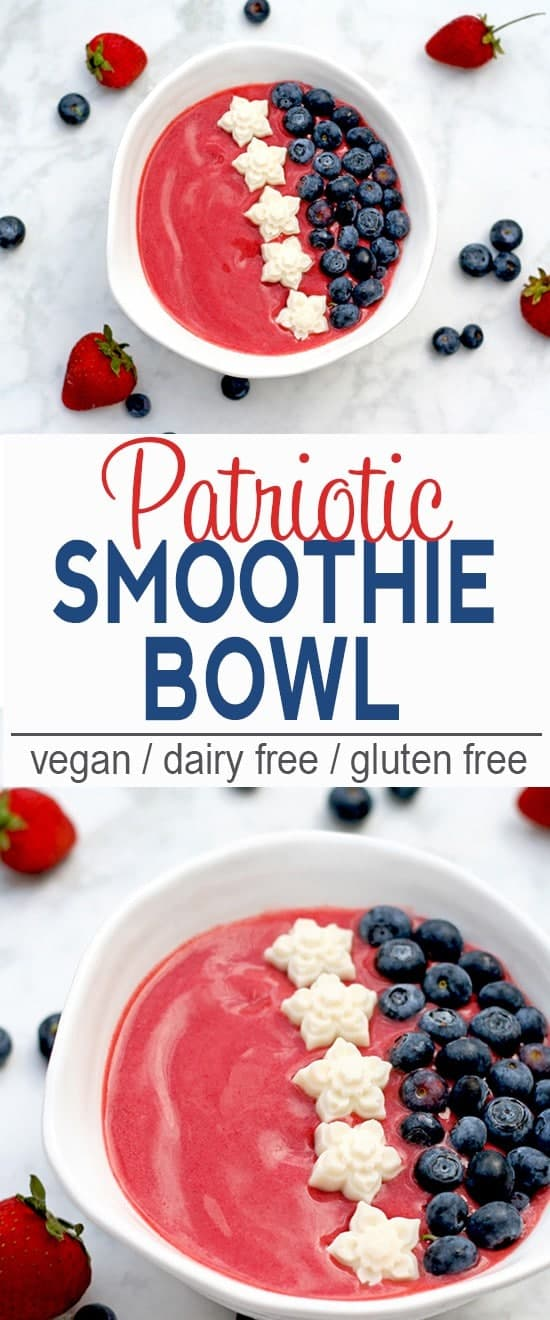 Patriotic Smoothie Bowl | This Patriotic Smoothie Bowl celebrates the USA with strawberries, blueberries and coconut butter stars. Make one for breakfast or as a snack anytime your want to show your red, white, & blue pride! | Check out the recipe or pin for later!