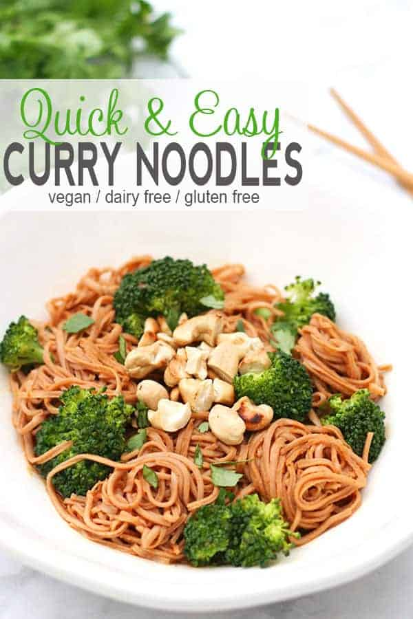 Quick Curry Noodles | These Quick Curry Noodles are a great introduction to curry flavors for those that have never tried a curry before. These curry noodles are easy to make and ready to eat in about 25 minutes. They are also gluten free, dairy free, and vegan! #vegancurrynoodles #glutenfreecurrynoodles #currynoodles #currynoodlesrecipe #vegancurrynoodlesrecipe #vnutrition