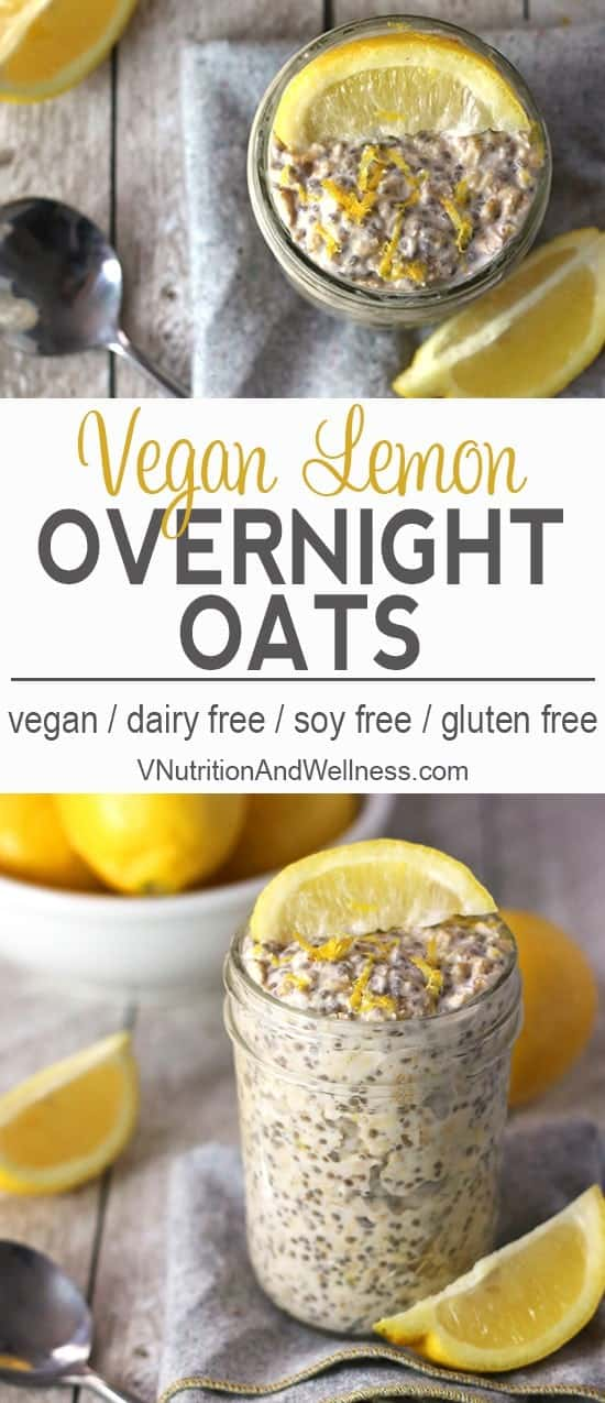 Lemon Overnight Oats   These lemon overnight oats are a refreshing take on breakfast. Tart and sweet, these are perfect for sunny weather (or to brighten your day when you wish it was sunny)! vegan overnight oat recipe, vegan, gluten-free, dairy-free breakfast