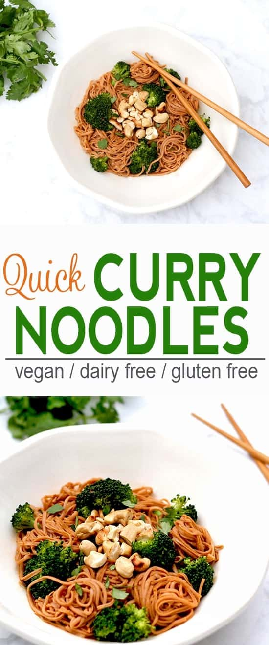 Quick Curry Noodles | Vegan, Dairy Free, Gluten Free | These Quick Curry Noodles make a quick and tasty meal.