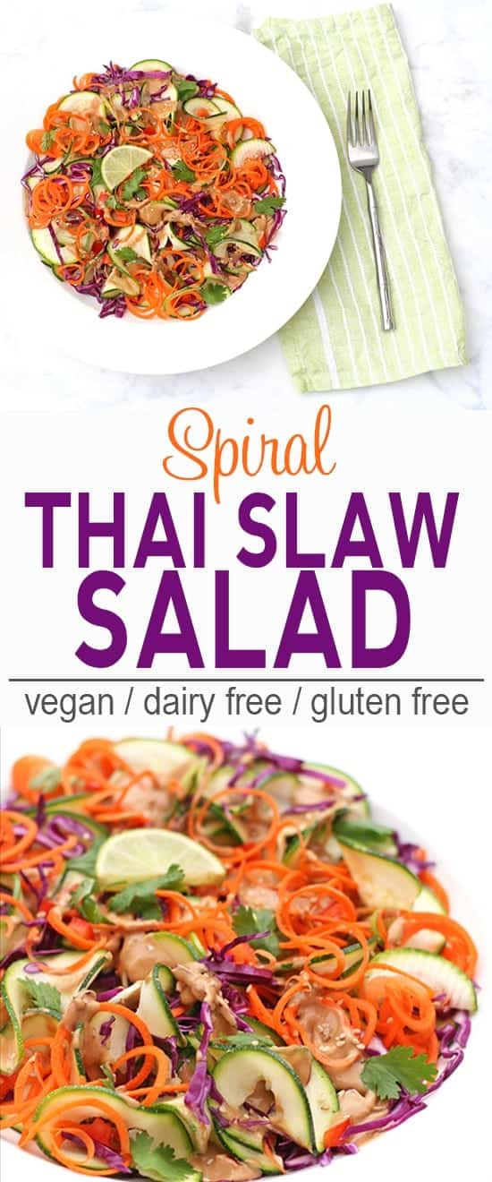Spiral Thai Slaw Salad | Vegan, Dairy Free, Gluten Free | This Spiral Thai Salad will impress at potlucks and BBQs! | From @V_Nutrition | www.vnutritionandwellness.com