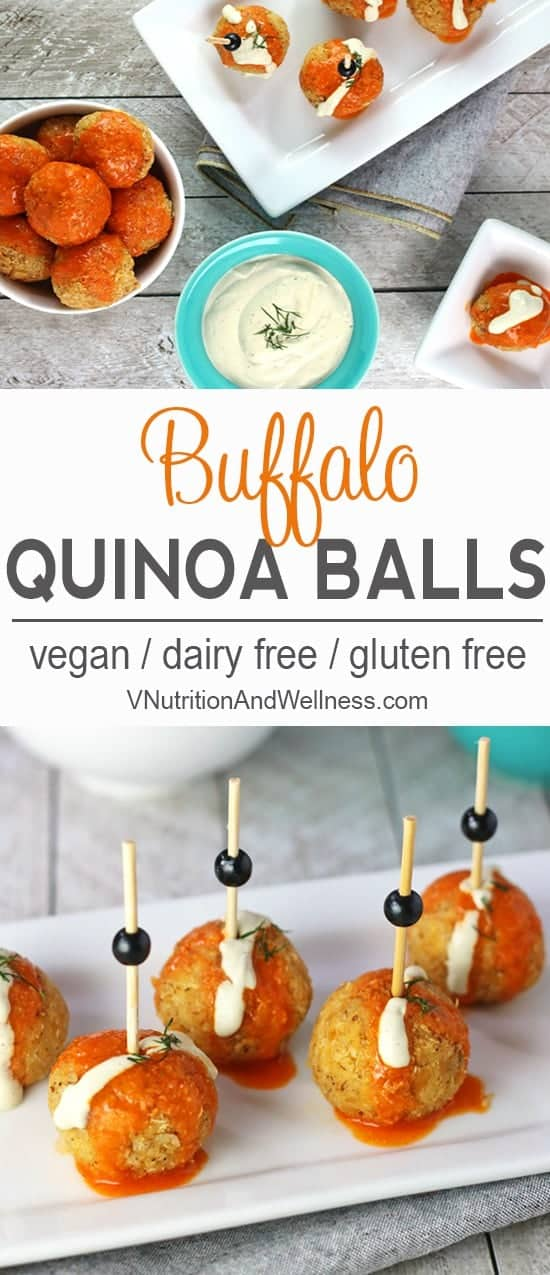 Buffalo Quinoa Balls | These Buffalo Quinoa Balls are a nice way to get that Buffalo sauce fix without meat! vegan, vegan buffalo sauce, buffalo sauce recipe