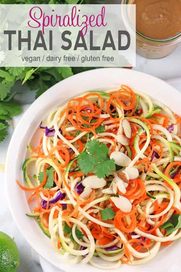 Spiralized Thai Salad with Peanut Dressing | This bright and colorful Spiralized Thai Salad with tasty peanut dressing adds fun and flavor to dinnertime. It's easy to make and a great way to add in more veggies to your day! Perfect for an easy and quick summer dinner. vegan, vegetarian, vegan salad, gluten-free #thaisalad #spiralizedsalad #zoodlesalad