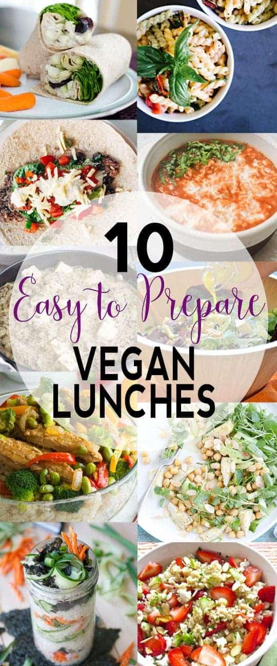 10 Easy to Prepare Vegan Lunches | Stuck in a lunch rut? Here are 10 Easy to Prepare Vegan Lunches to help you out! | Check them out or pin for later!