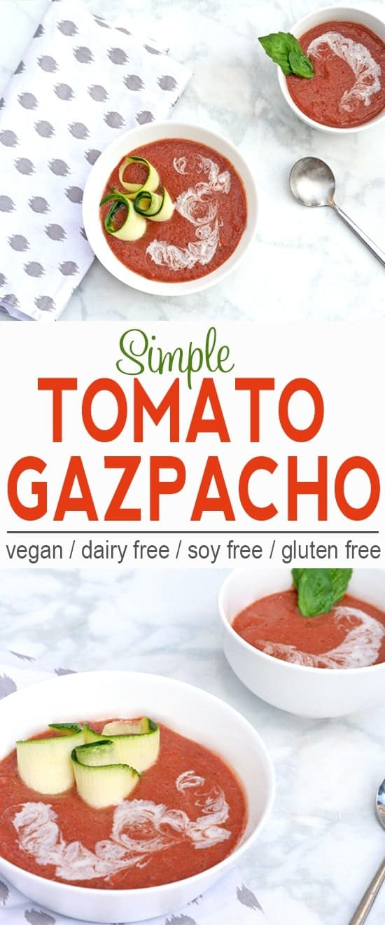 Simple Tomato Gazpacho | Vegan, Dairy Free, Gluten Free | This simple tomato gazpacho will help keep you cool this summer! | From @V_Nutrition | www.vnutritionandwellness.com