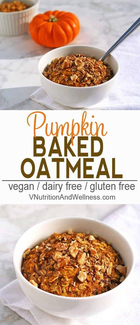 VVegan Baked Pumpkin Oatmeal | A tasty and healthy breakfast option. vegan, breakfast, recipe, pumpkin