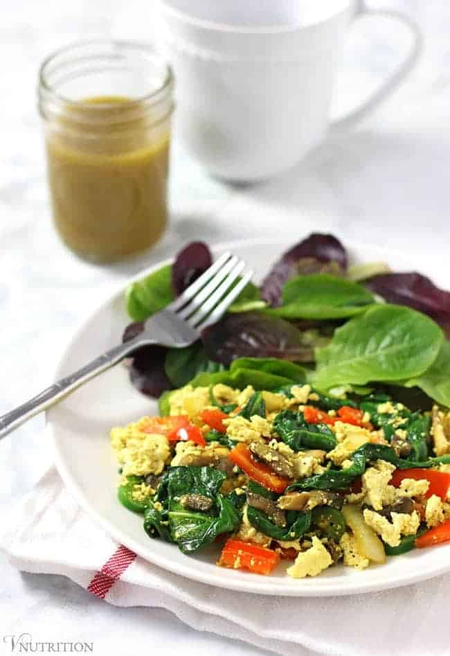 Simple Tofu Scramble | A quick, healthy, easy breakfast recipe - ready in about 10 minutes! Tofu Recipe - vegan, gluten-free, dairy-free