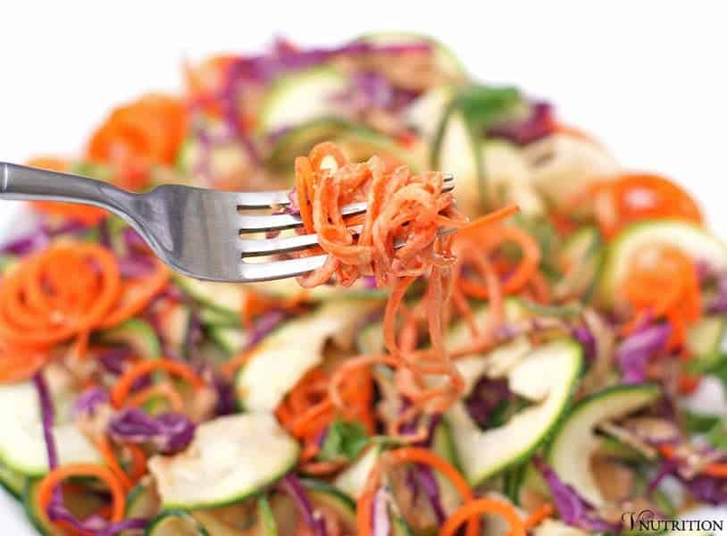 Spiral Thai Slaw Salad | Add some healthy food to dinnertime, BBQs or potlucks with this Spiral Thai Slaw Salad! Click to read more or repin to save for later!