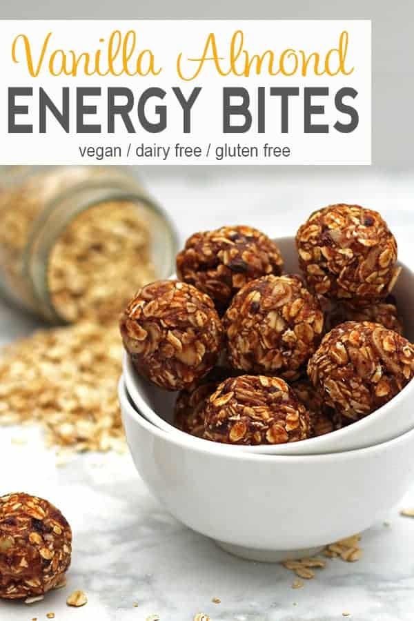 Vanilla Almond Energy Balls | These energy balls are a perfect snack for those mid-day cravings. These no bake balls are a healthy snack with no added sugar. These vanilla almond balls are also vegan, gluten-free, and easy to make. #vanillaenergybites #vanillaenergyballs #veganenergyball #almondballs #healthyalmondballs #vnutrition
