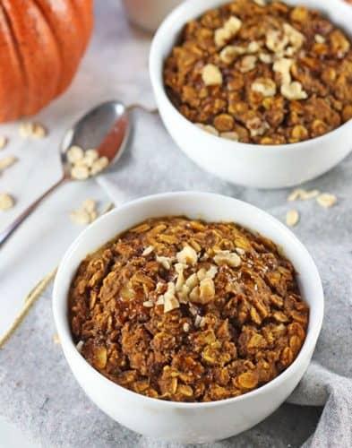 Vegan Baked Pumpkin Oatmeal {gluten free}