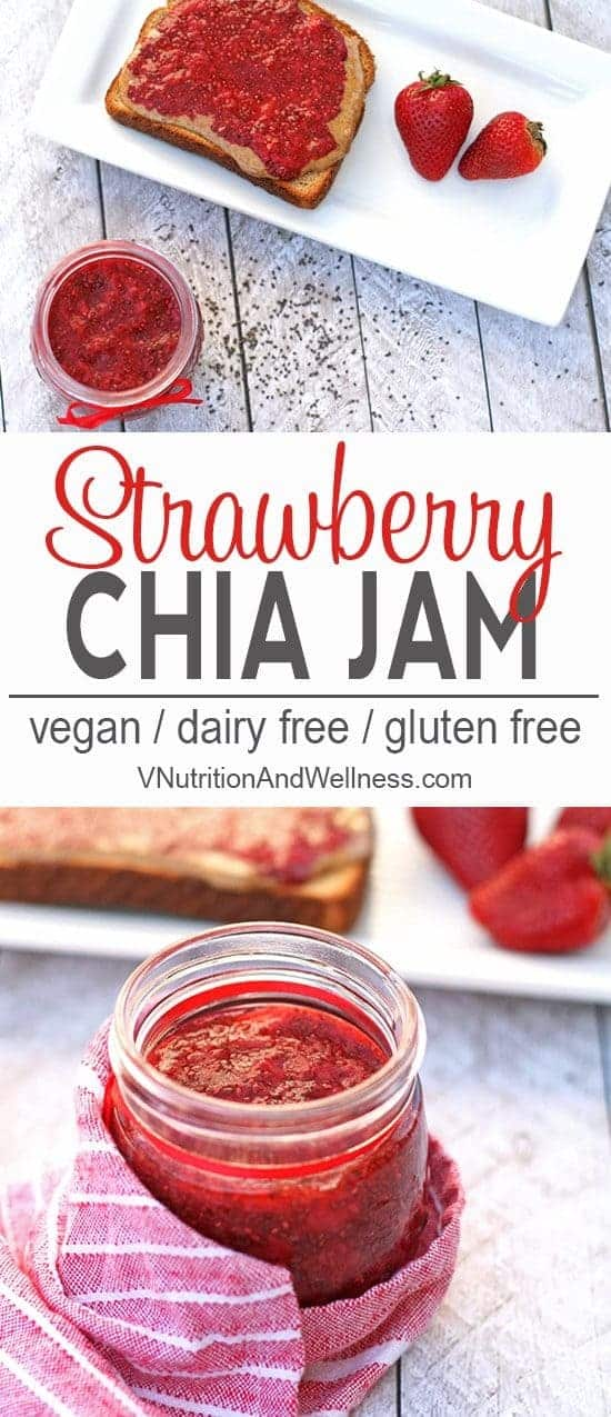 Easy Strawberry Chia Jam | Easy strawberry chia jam is a sweet and healthy addition to recipes. vegan, gluten-free, dairy-free, recipe