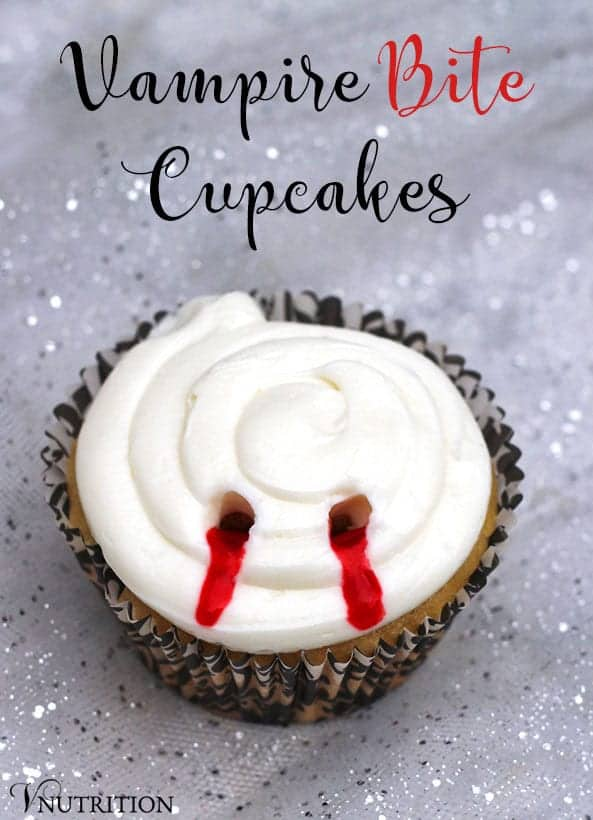 These Vampire Bite Cupcakes are perfect for Halloween or watching your favorite scary movies! These cupcakes are filled with strawberry jam to scare everyone that takes a bite!