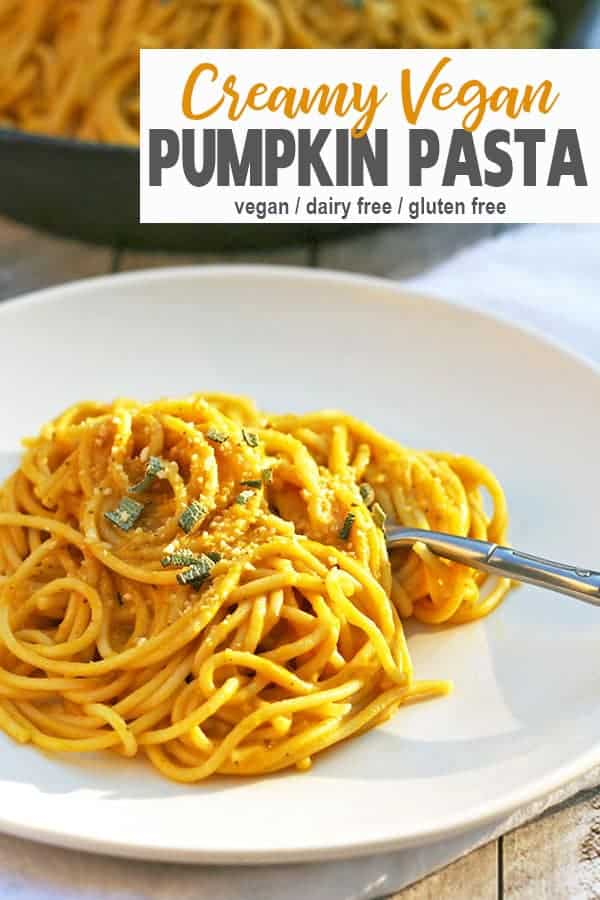 Vegan Pumpkin Pasta | This Rich & Creamy Pumpkin Pasta Sauce with Sage is the perfect vegan comfort food dinner. The pumpkin sauce 