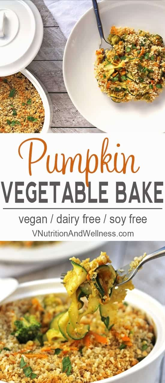 Pumpkin Vegetable Casserole| This Pumpkin Vegetable Casserole is a healthy vegan side dish for Thanksgiving or anytime you want to impress! vegan recipe, vegan holiday, vegan Thanksgiving, gluten free, pumpkin recipe, vegan casserole recipe