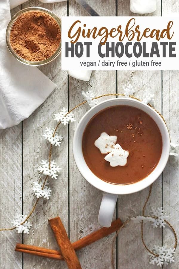 This vegan Gingerbread Hot Chocolate is full of Christmas spice. This homemade recipe is easy to make healthy by using dairy-free milk, cacao powder, and vegan chocolate chips. It's the is the perfect warming drink for the holidays! #vegangingerbreadhotchocolate #veganhotchocolate #vnutrition #easyveganhotchocolate #healthyveganhotchocolate #veganhotchocolaterecipe