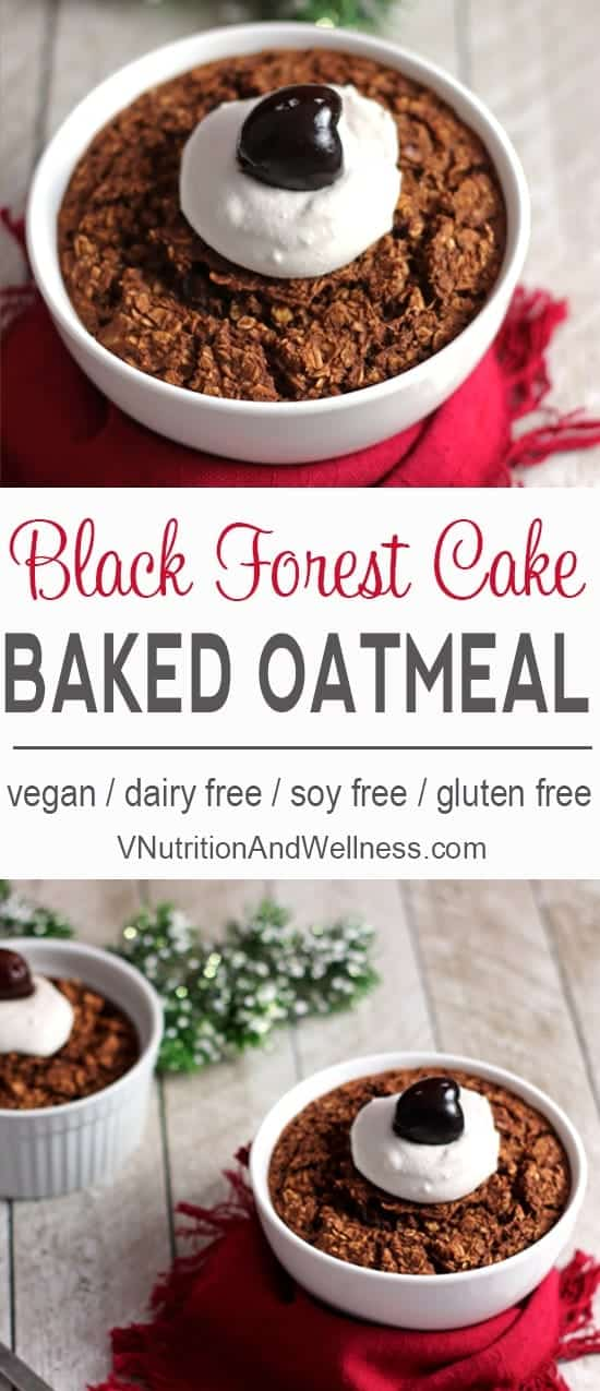This Black Forest Baked Oatmeal is a healthy version of the original cake. Celebrate the holidays with this fun breakfast!
