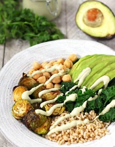Green Power Bowl with Creamy Cilantro Lime Sauce {GF}
