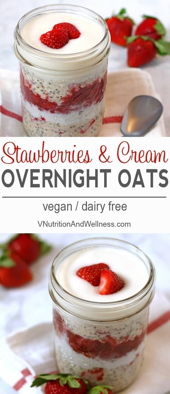 Vegan Strawberries and Cream Overnight Oats | A perfect breakfast for yourself or a loved one! vegan, vegetarian, recipe, dairy-free