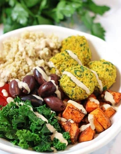 Mediterranean Bowl with Falafels and Hummus Dressing