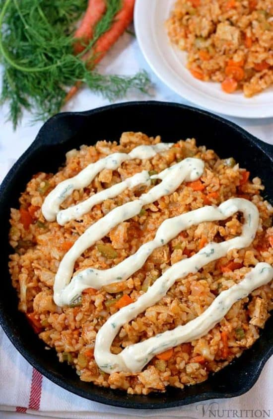 Vegan Buffalo Chicken Rice Skillet