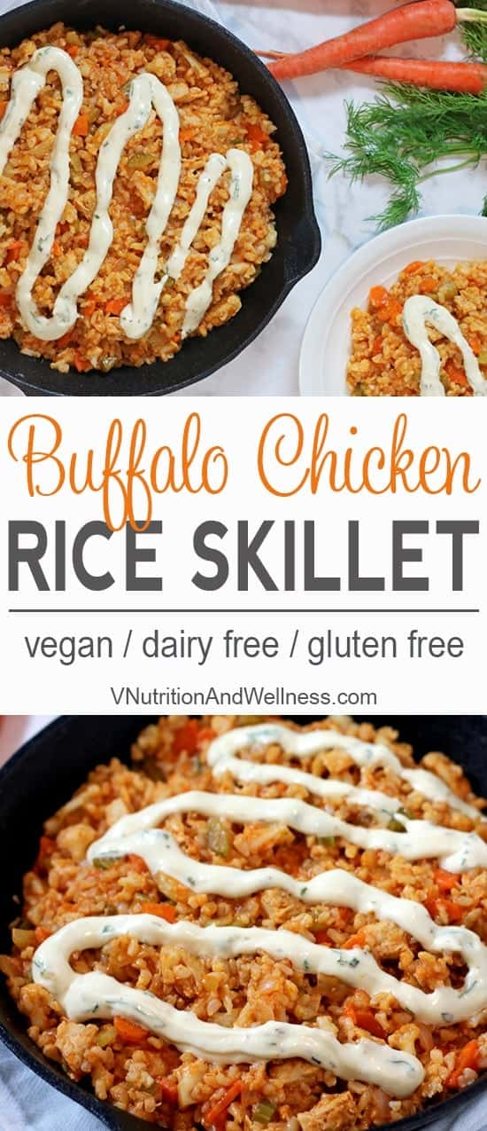 Vegan Buffalo Chicken Rice Skillet | Vegan chicken, brown rice & veggies make a perfect football meal! vegan recipe, buffalo chicken