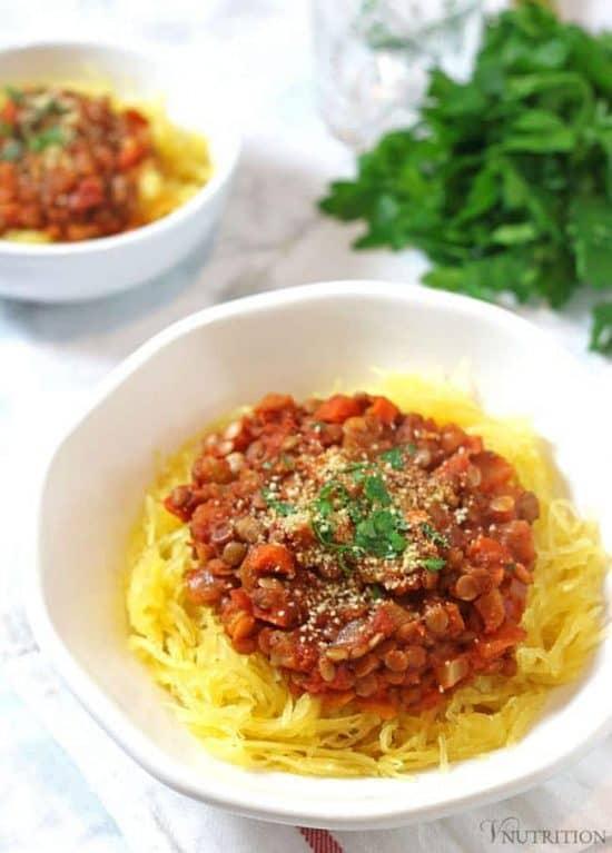 Lentil Bolognese   This vegan Lentil Bolognese Spaghetti Squash makes a hearty dinner! vegan bolognese recipe, vegan recipe