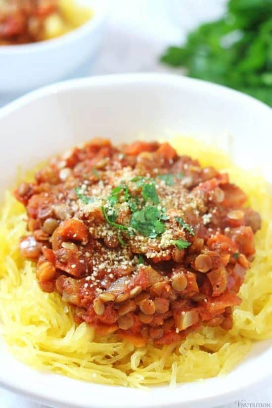 Lentil Bolognese | This vegan Lentil Bolognese Spaghetti Squash makes a hearty dinner! vegan bolognese recipe, vegan recipe