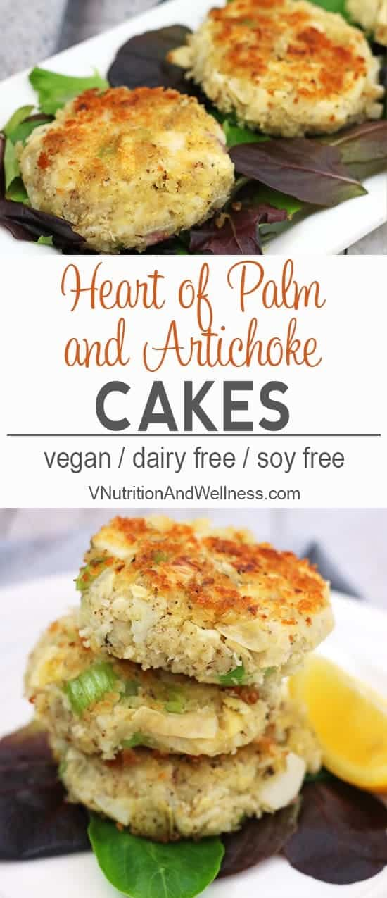 Heart of Palm and Artichoke Cakes | These Heart of Palm and Artichoke Cakes are a vegan take on crab cakes. Savory and delicious, these cakes make a great entree, appetizer or filling for a sandwich! vegan crab cakes, vegan recipe, vegan crab cake recipe