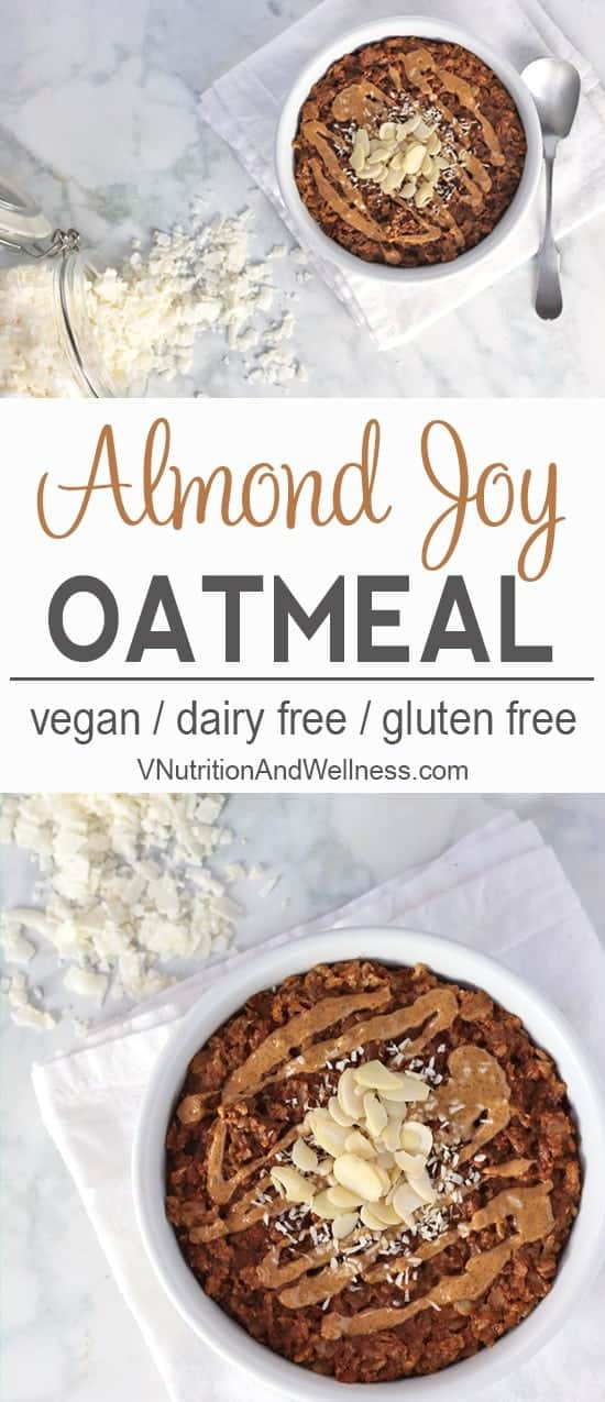 Almond Joy Oatmeal | This Almond Joy Oatmeal is healthy vegan take on Almond Joy candy and makes a delicious breakfast. vegan oatmeal recipe, vegan oatmeal