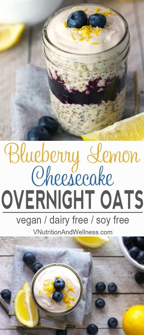 Blueberry Lemon Cheesecake Overnight Oats |  These Blueberry Lemon Cheesecake Overnight Oats are tart, sweet, and creamy all at the same time. It's a healthy breakfast you can make ahead of time for those mornings that you're in a rush! vegan overnight oats, vegan breakfast recipe, gluten free