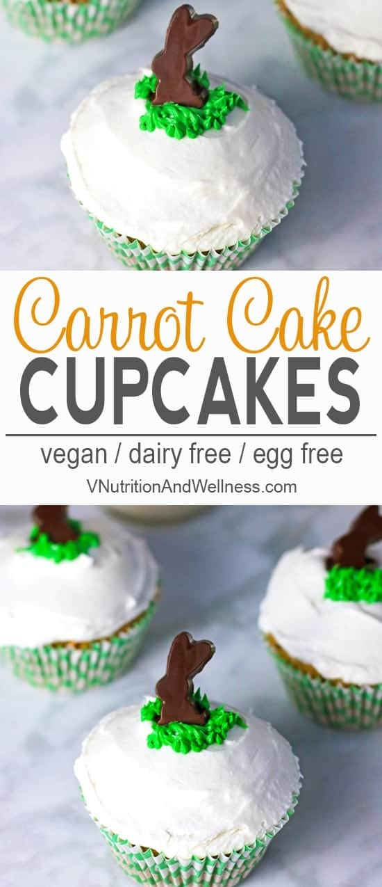Vegan Carrot Cake Cupcakes | These Vegan Carrot Cake Cupcakes are a perfect treat for Easter or to make for the bunny lovers in your life. They are easy to make, dairy free, and totally delicious! #vnutrition #carrotcakecupcakes #vegancarrotcakecupcakes #vegancarrotcakecupcakerecipes 