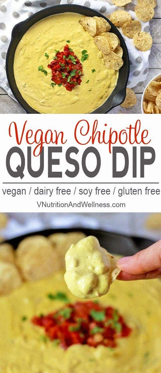 Vegan Chipotle Queso | This amazing Vegan Chipotle Queso will satisfy any cheesy craving. It's made with cashews and tastes just like the queso dip at Mexican restaurants but it's dairy-free! vegan queso recipe, dairy-free, gluten-free, queso dip