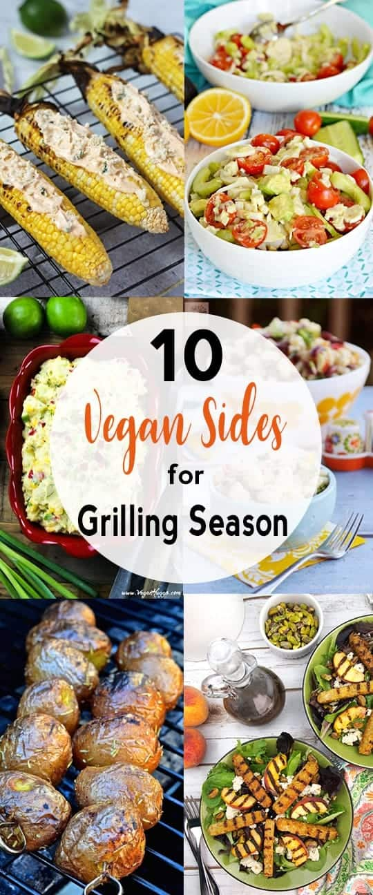 collage of vegan sides for grilling