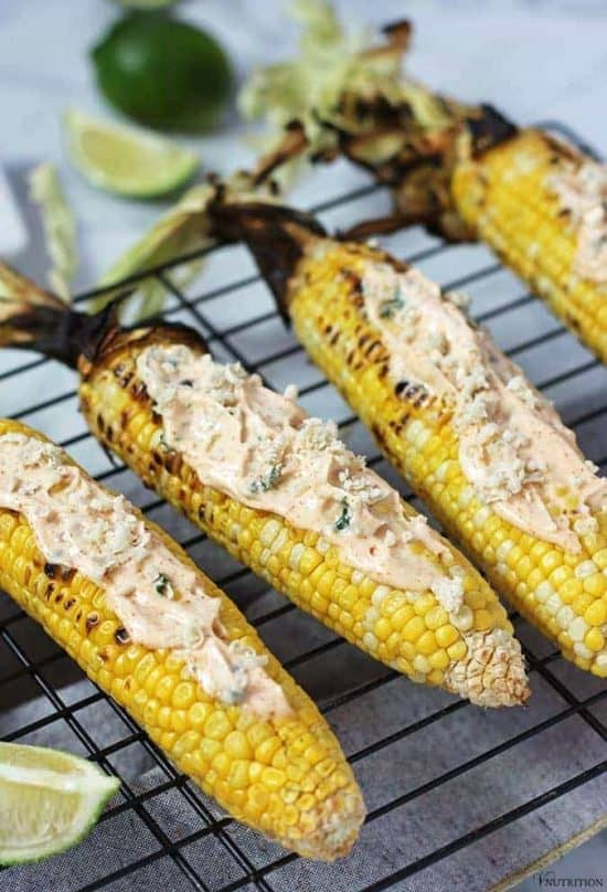 close up shot of vegan street corn with lime in the background for vegan sides for grilling