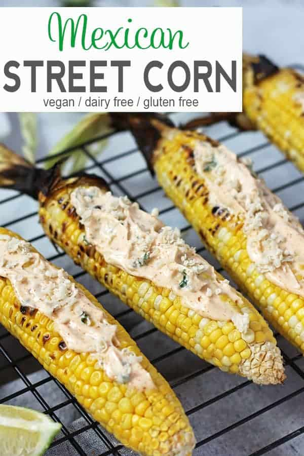 Vegan Street Fair Corn | A popular food at street fairs in NYC is Mexican Street Corn. Freshly grilled sweet corn is coated with a mixture of vegan cheese and spiced mayonnaise to make this Vegan Street Fair Corn even better than the original. vegan BBQ recipe, gluten-free, dairy-free, vegan recipe, vegetarian #veganstreetcorn #mexicanstreetcorn #vegangrilledcorn