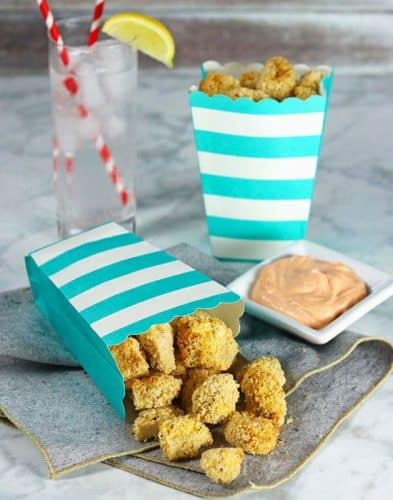 Air Fryer Popcorn Tofu with Sriracha Dipping Sauce {GF}