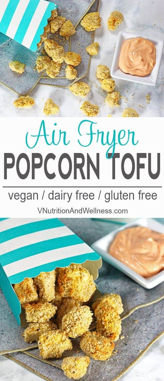 Air Fryer Popcorn Tofu with Sriracha Dipping Sauce | Air Fryer Popcorn Tofu is a perfect snack for game day, movie night or dinner for the kiddos and is a healthy tofu option because it uses no oil!  vegan recipe, vegan air fryer recipe, gluten-free, vegetarian, diary-free
