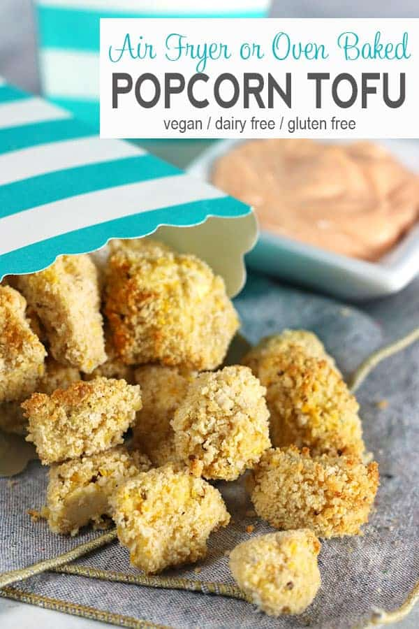 Air Fryer Popcorn Tofu with Sriracha Dipping Sauce | These popcorn tofu nuggets can be made in an air fryer is a perfect snack for game day, movie night or dinner for the kiddos. It is a healthy gluten-free option because it uses no oil! Don't have an air fryer? No problem, these can be baked as well. #popcorntofu #veganpopcorntofu #popcorntofurecipe #vnutrition #airfryerpopcorntofu #bakedpopcorntofu #popcorntofunuggets #glutenfreepopcorntofu