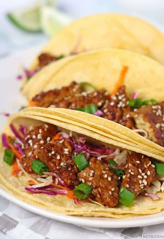 Teriyaki Tempeh Tacos | Looking for a different take on tacos? These Teriyaki Tempeh Tacos are a loaded with protein and combine both sweet and savory to make a delicious and easy meal. vegan tacos, gluten-free tacos, vegan taco recipe